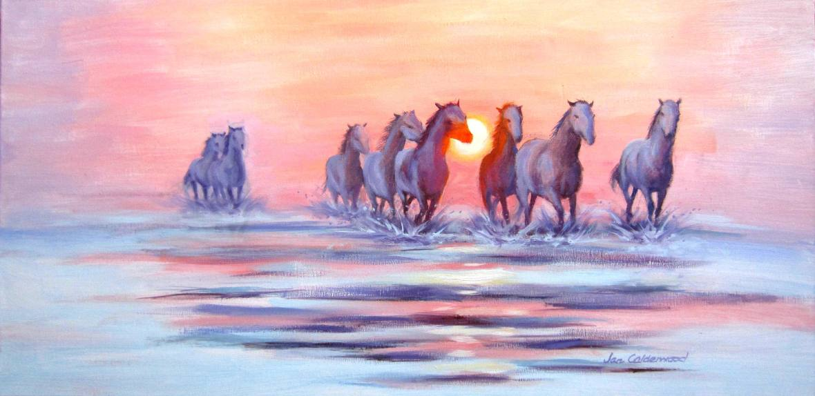 Oil painting of Camargue horses in sunset light.