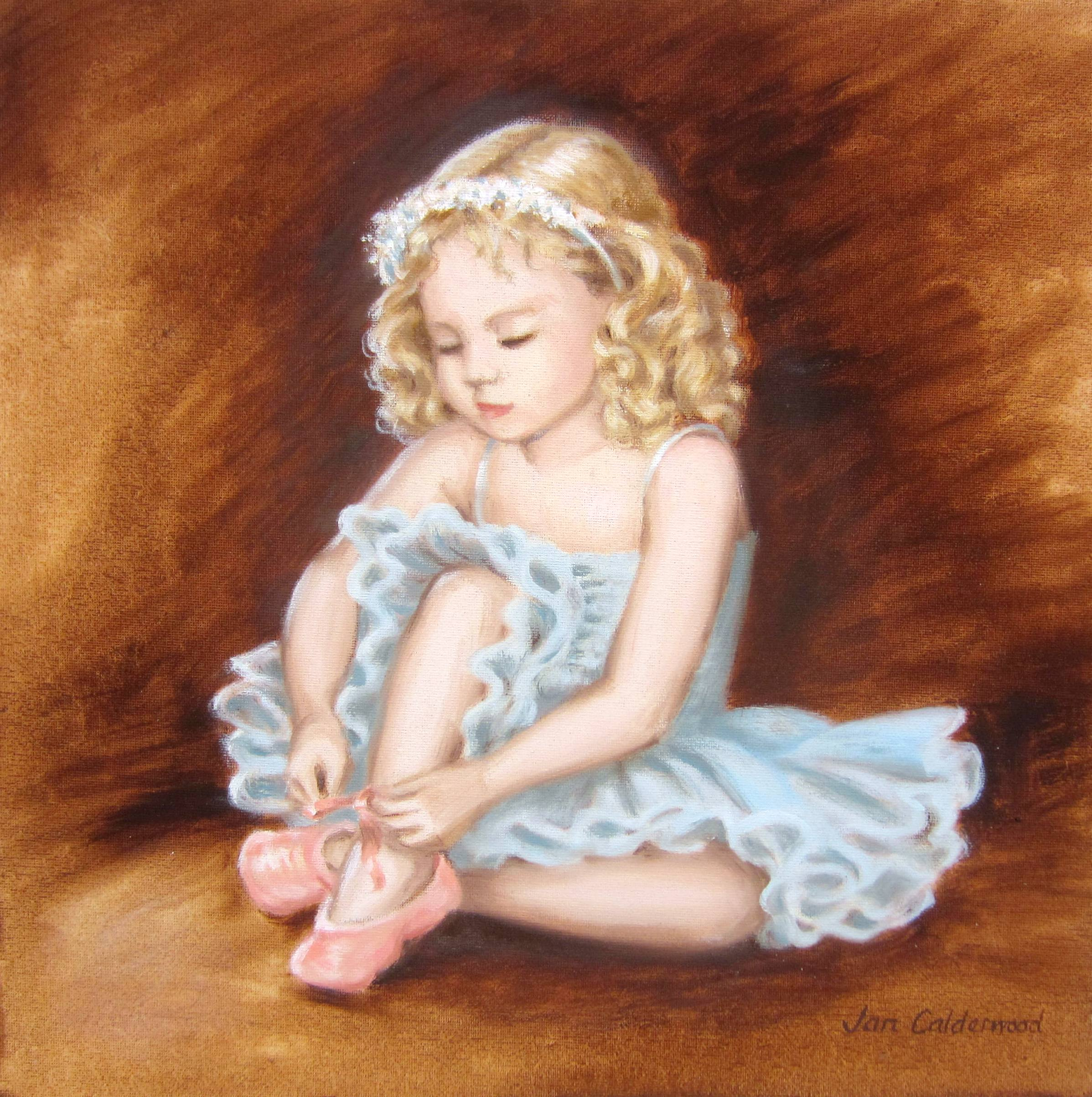 Oil painting of child in ballet dress