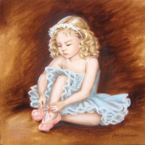 Oil painting of child in ballet costume.