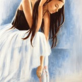 Ballerina in blue and white with dark hair.