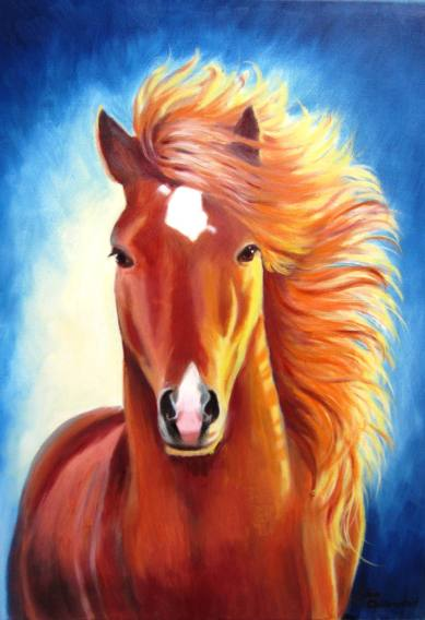 Oil painting of a chestnut horse in sunlight