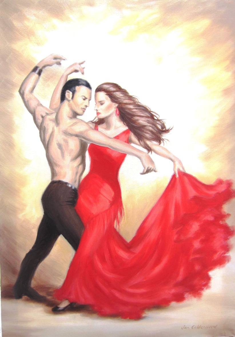 Oil painting of flamenco couple dancing