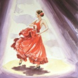 Flamenco dancer in red.