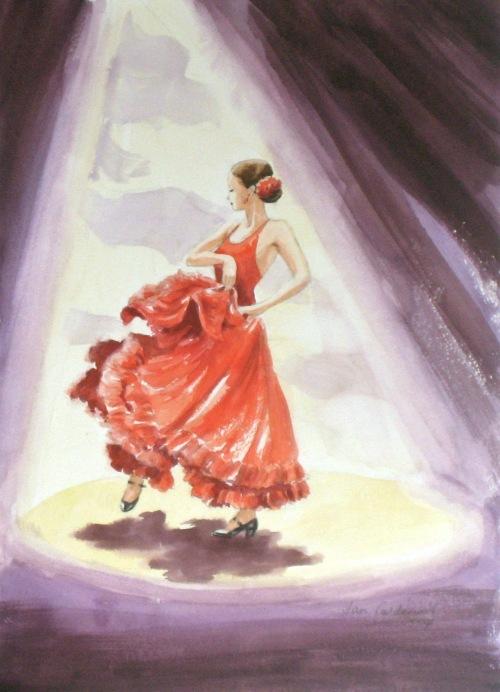 Flamenco dancer in red.