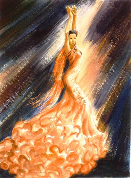 Flamenco dancer in peach