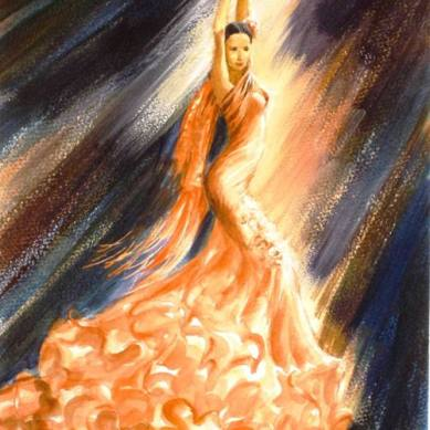 Flamenco dancer in peach