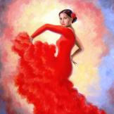 Oil painting of a flamenco dancer in red.