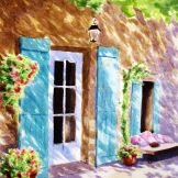 Sunlit French courtyard.