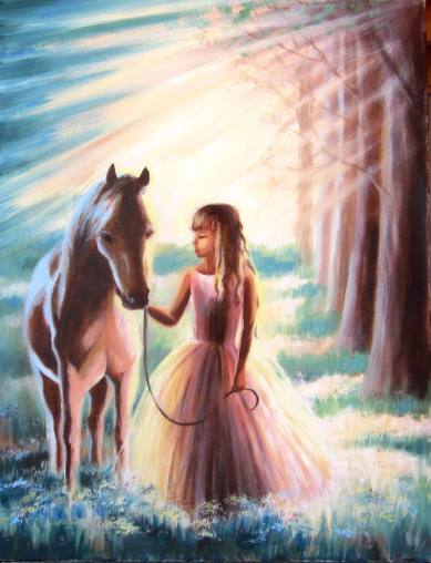 Young girl with horse in sunlit forest