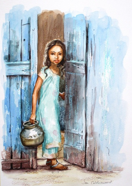 Young Indian girl collecting water.