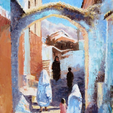 Moroccan archway, palette knife and oils