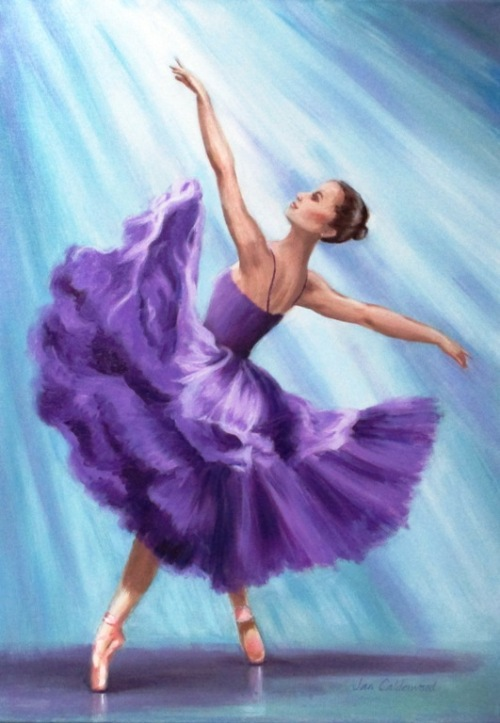 Oil painting of ballerina in purple.
