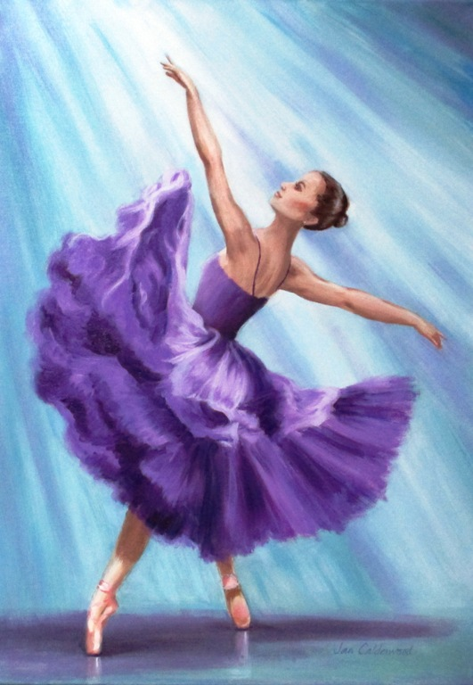Oil painting of ballerina in purple.