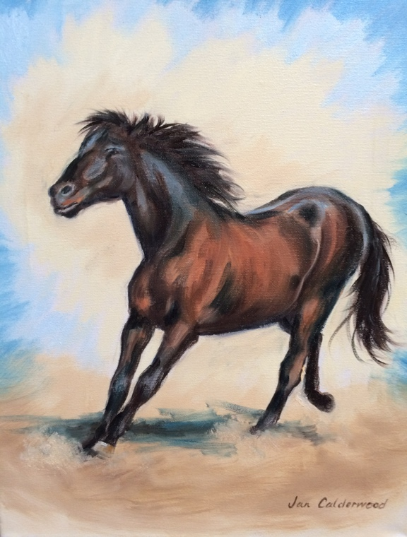 Oil painting of bay Horse running free.