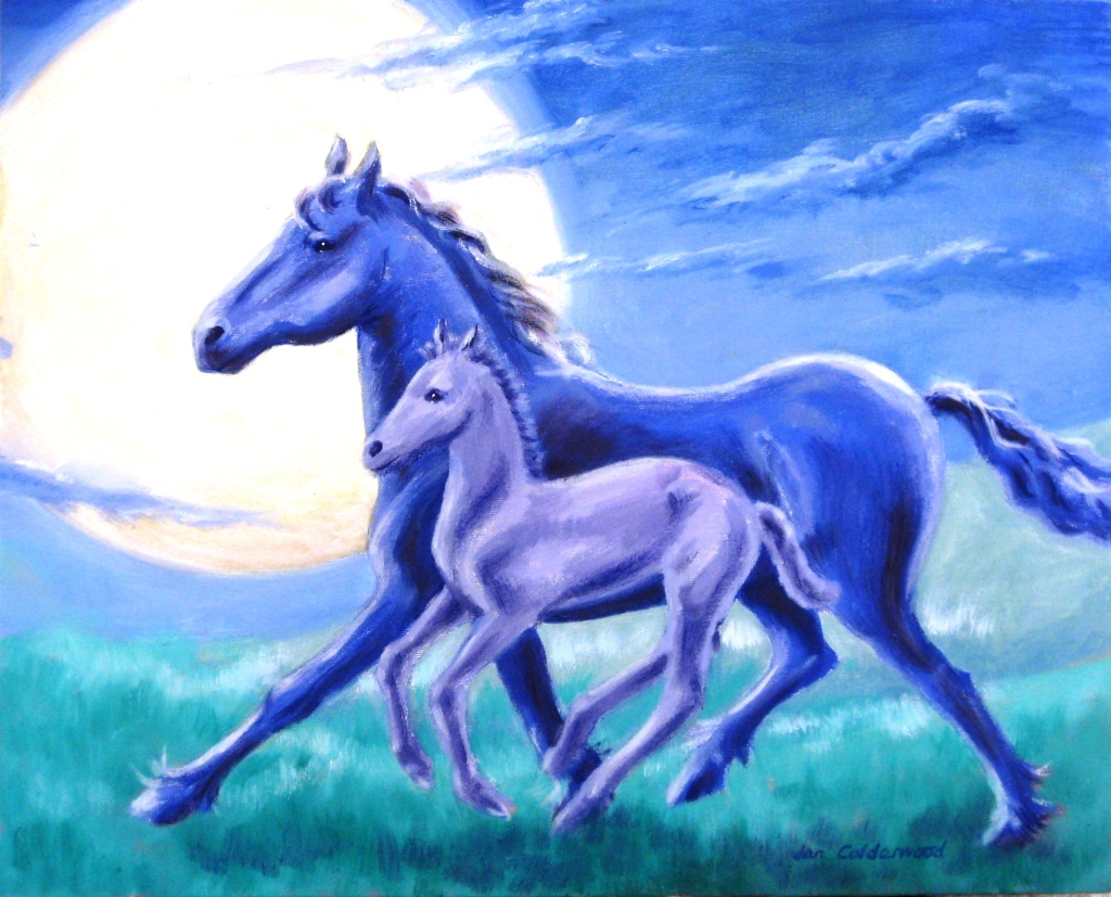 Mare and foal by moonlight