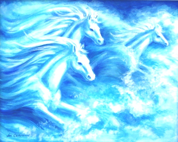 White horses at sea