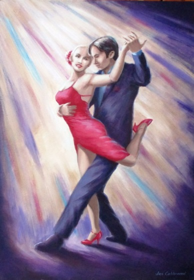 Tango dancing couple oil painting