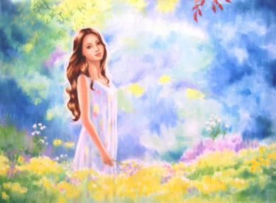 Girl walking in sunlit wood among wildflowers
