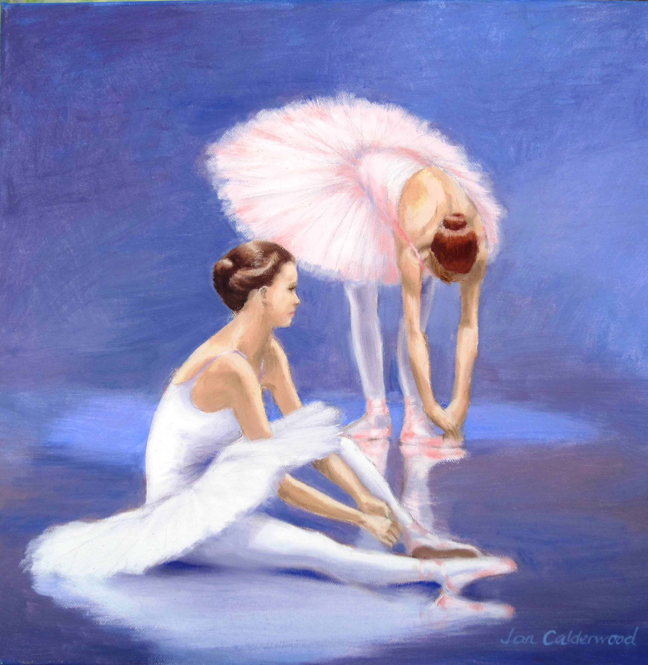Painting of two little ballerinas for sale