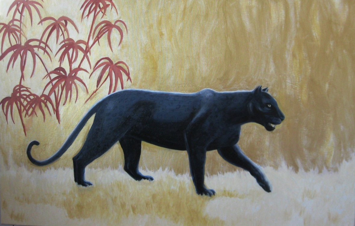 Black panther with gold and copper jungle