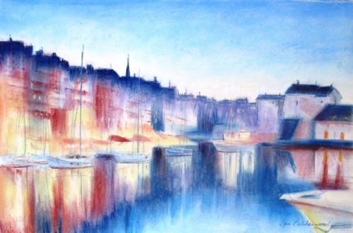 Pastel painting of Honfleur harbour at twilight