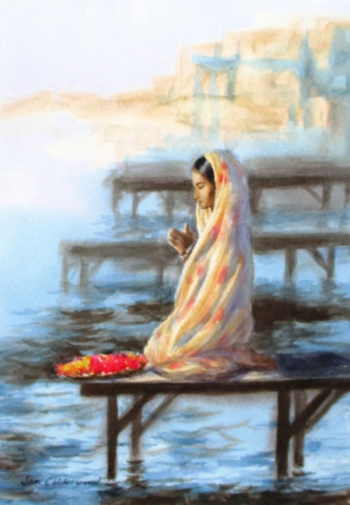 Watercolour of young woman praying beside the Ganges.