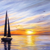 Sailing at sunset.