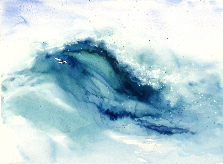 Huge wave at sea with gull.