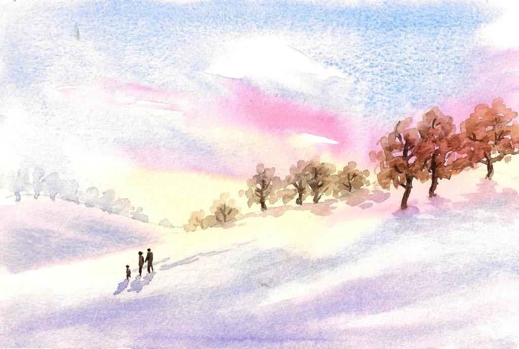 Snowy sunset walk.