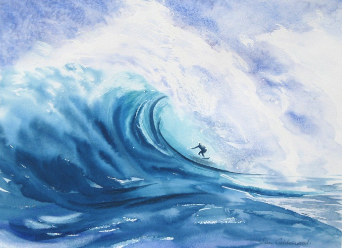 A surfer with a huge wave.