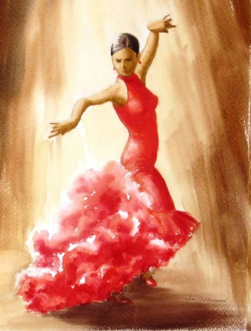 Flamenco dancer in red